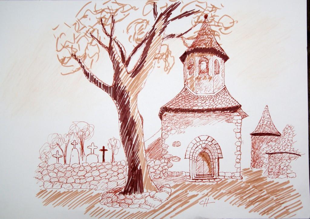 Ancienne église de Lacroix Barrez, encre de chine et lavis